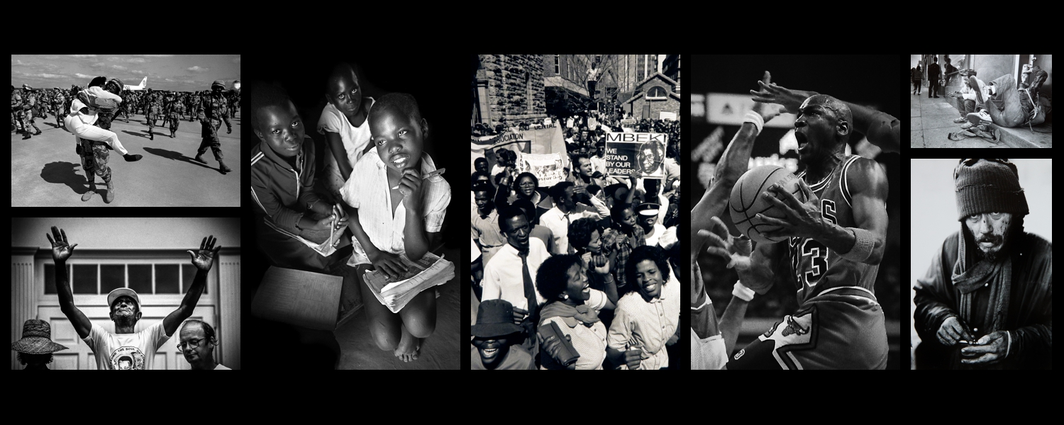 1st Gulf War Homecoming, Civil Rights Protest, Zimbabwe School Children, South African Apartheid Protest,  Michael Jordan, Homeless