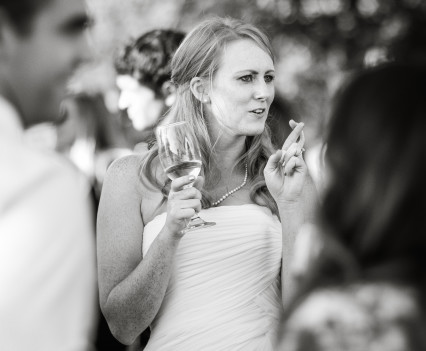 Bride at the reception with guests